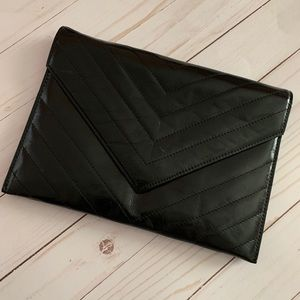 YSL Black Leather Clutch with Box